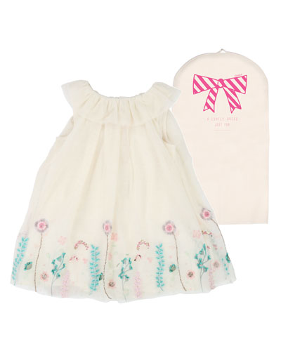 Floral Embroidered Tulle Dress  Size 12M-3