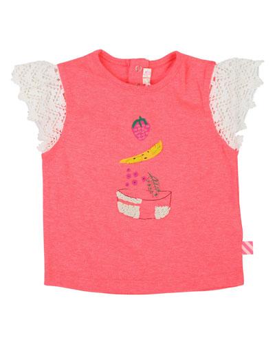 Fruit Bowl Tee w/ Crochet Sleeves  Size 12M-3