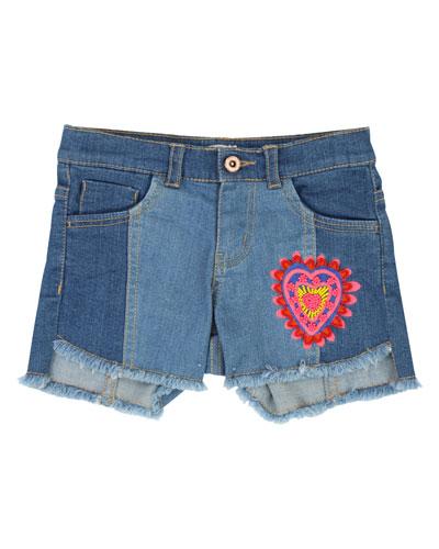Two-Tone Raw-Hem Denim Shorts w/ Heart Patch  Size 4-12