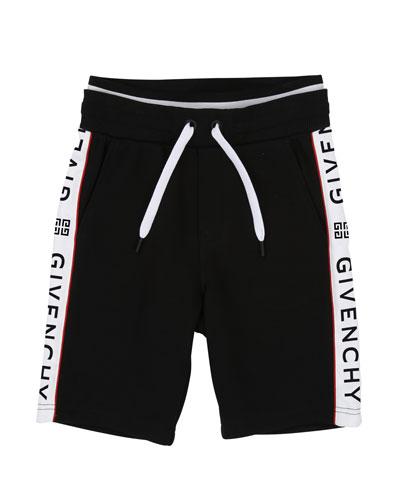 Drawstring Sweat Shorts w/ Logo Taping, Size 4-10