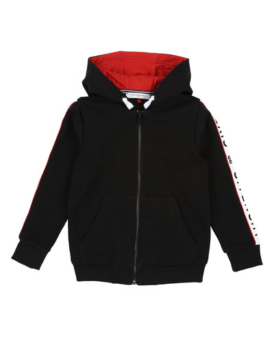 Zip-Up Hooded Jacket w/ Logo Taping  Size 4-10