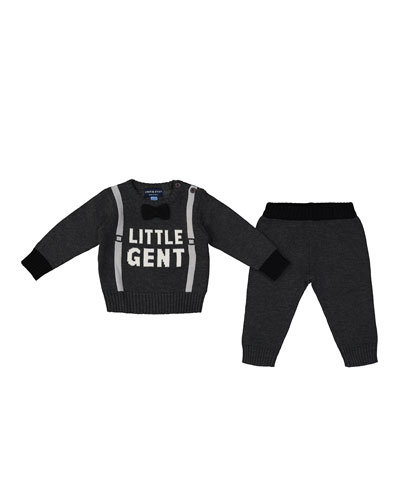 Little Gent Sweater w/ Matching Knit Pants, Size 0-24 Months