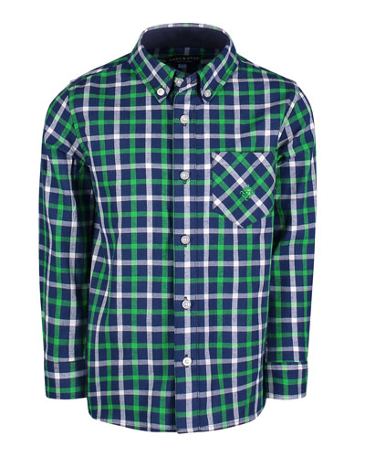 Long-Sleeve Flannel Button-Down Shirt, Size 2-7