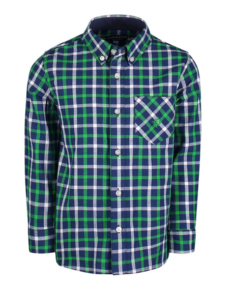 Andy & Evan Long-Sleeve Flannel Button-Down Shirt, Size