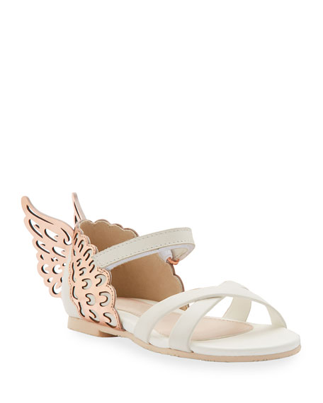 Evangeline Metallic Butterfly-Wing Leather Sandals, Toddler in White