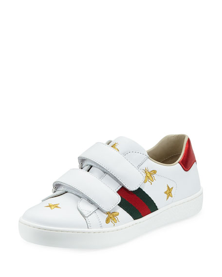 Gucci New Ace Bee Embroidery Leather Sneaker, Toddler/Kids