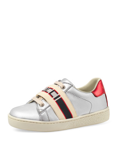 New Ace Gucci Band Metallic Leather Sneaker  Toddler