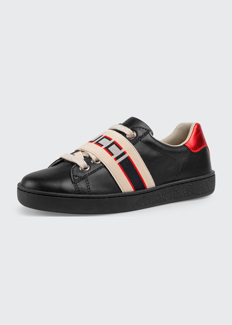 New Ace Gucci Band Leather Sneaker, Toddler/Kids