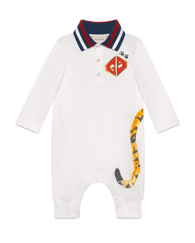 Tiger Print Coverall w/ Knit Collar  Size 3-24 Months
