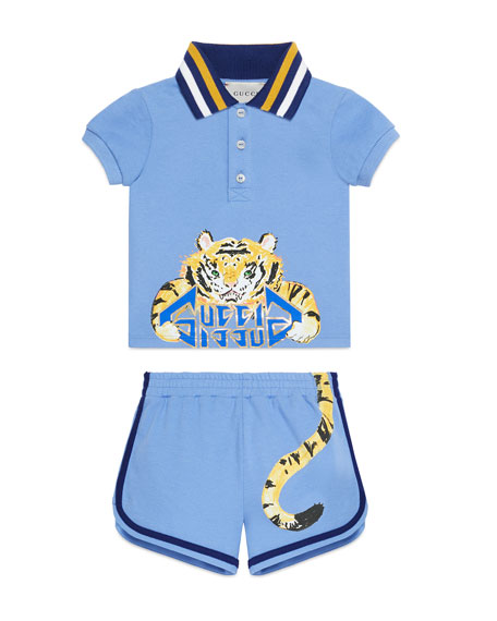 Tiger Graphic Polo Top w/ Matching Shorts, Size 3-36 Months