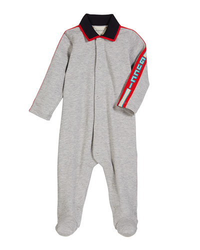 Collared Footie Pajamas w/ Logo Taping  Size 0-9 Months