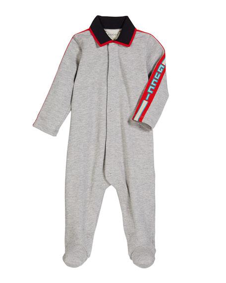 Collared Footie Pajamas w/ Logo Taping, Size 0-9 Months