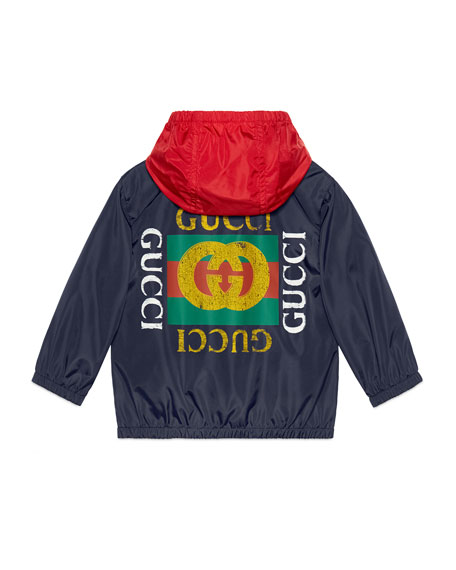 Logo-Back Hooded Nylon Jacket, Size 12-36 Months