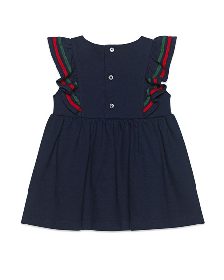 Ruffle-Trim Piquet Dress w/ Web Bow, Size 9-36 Months