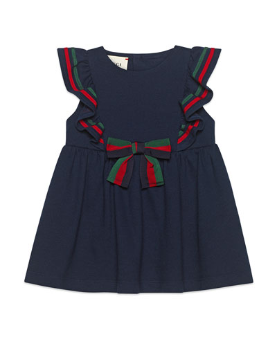 Ruffle-Trim Piquet Dress w/ Web Bow  Size 9-36 Months