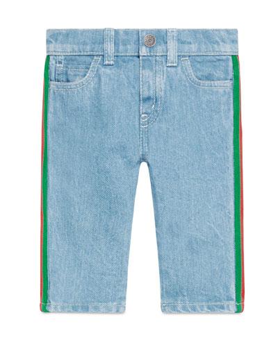 Tapered Denim Jeans w/ Web Trim  Size 6-36 Months