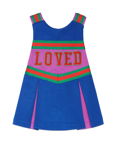 Jersey Colorblock Sleeveless Cheerleader Dress, Size 6-36 Months