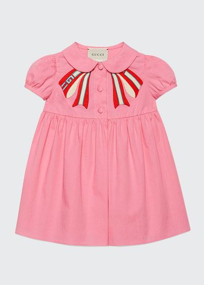 Peter Pan-Collar Dress w/ Logo Bow Applique  Size 3-36 Months