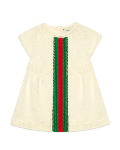 Short-Sleeve Knit Dress w/ Crochet Web Striped  Size 3-36 Months