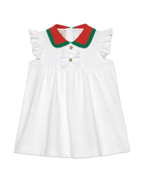 Ruffle-Trim Dress w/ Two-Tone Knit Collar, Size 9-36 Months