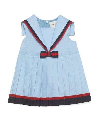 Sailor Collar Dress w/ Web Trim, Size 9-36 Months