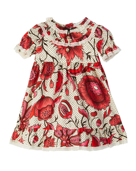 Gucci Floral Lace-Trim Puffy-Sleeve Dress, Size 6-36 Months