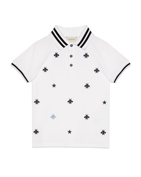 Bees & Stars Embroidered Polo Shirt, Size 4-12