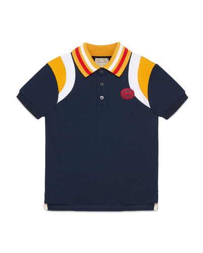 Colorblock Polo Shirt w/ Knit Collar  Size 4-12