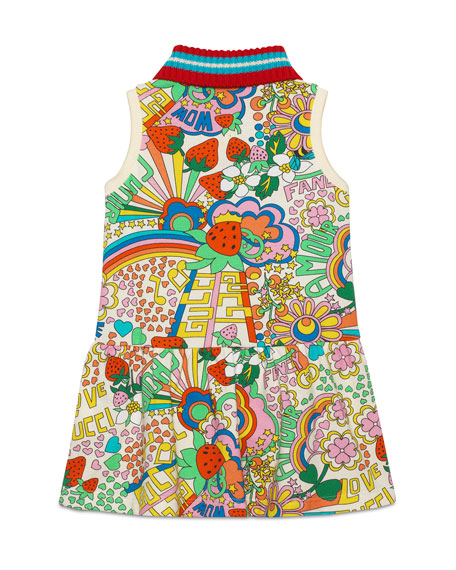 Mixed-Print Dress w/ Knit Collar, Size 4-12