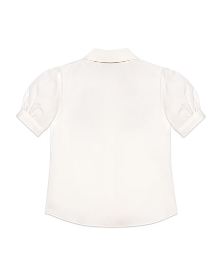 Puffy-Sleeve Collared Top w/ Logo Bow Applique, Size 4-12