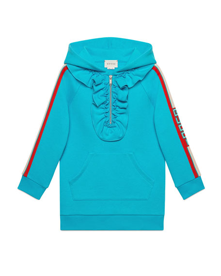 Logo-Sleeves Hooded Sweatshirt Dress, Size 4-12