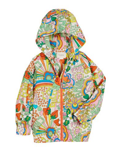Rainbow Pop Print Hooded Nylon Jacket  Size 4-12
