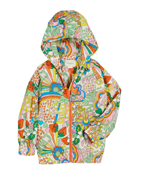 Rainbow Pop Print Hooded Nylon Jacket, Size 4-12