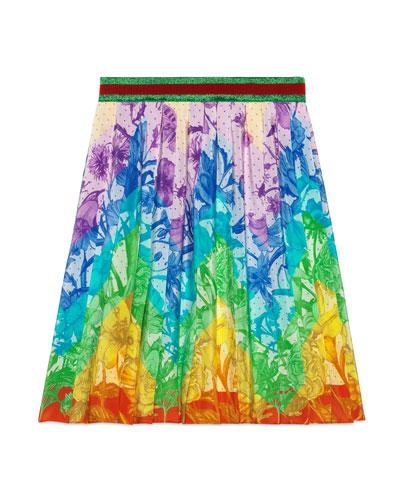 Floral Rainbow Chevron A-Line Skirt  Size 4-12