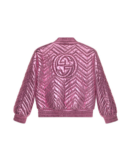 Chevron Quilted Metallic Leather Bomber Jacket, Size 4-6