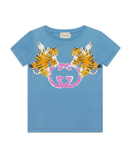 Double Tiger GG Short-Sleeve T-Shirt, Size 4-10