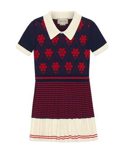 Flower Argyle Knit Dress  Size 4-12