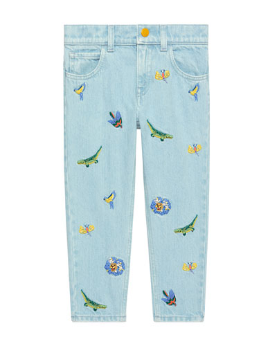 Animal Embroidered Denim Jeans  Size 4-12