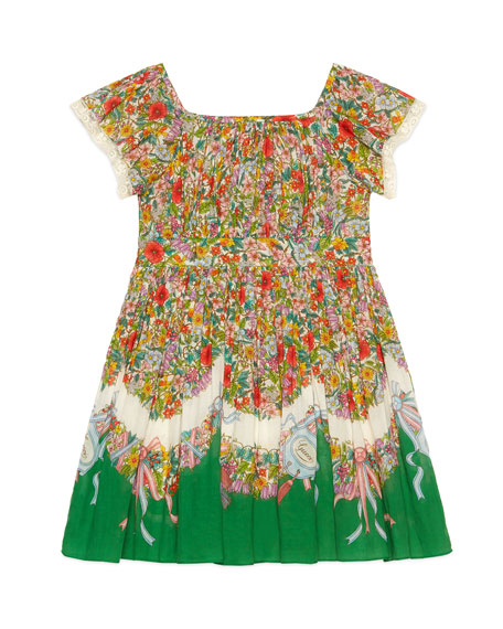 Shamrock-Print Smocked Dress, Size 4-12