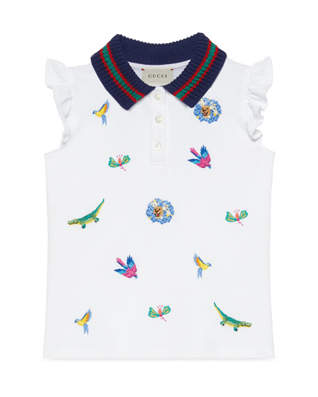 Gucci Animal Embroidered Polo Shirt w/ Knit Collar,