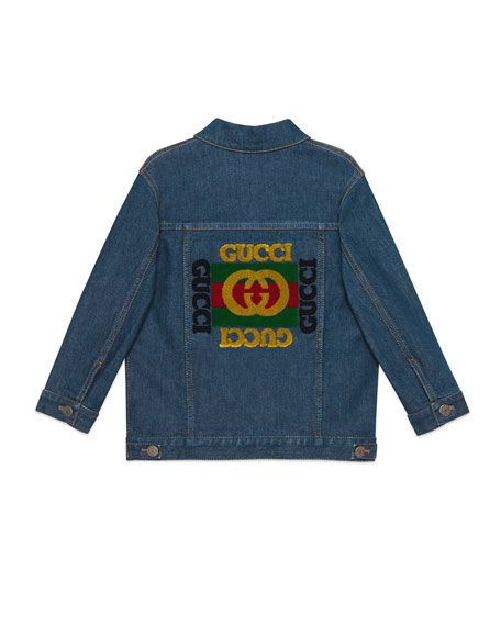 Logo Embroidered Denim Jacket, Size 4-10