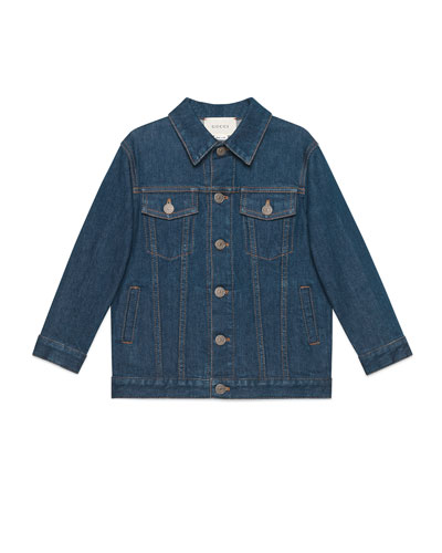 Logo Embroidered Denim Jacket  Size 4-10