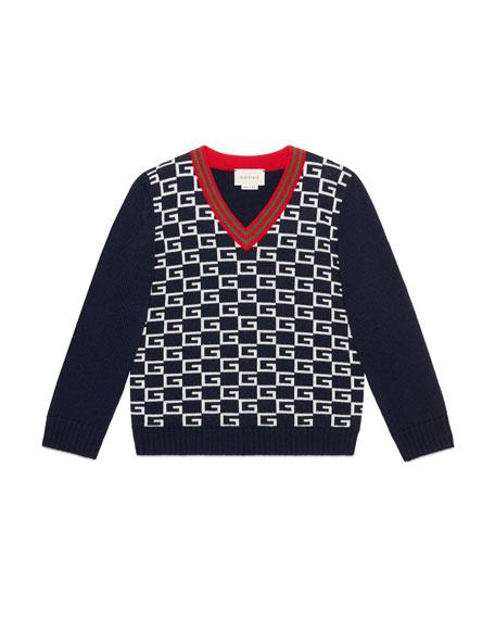 Logo Jacquard Wool V-Neck Sweater, Size 4-12