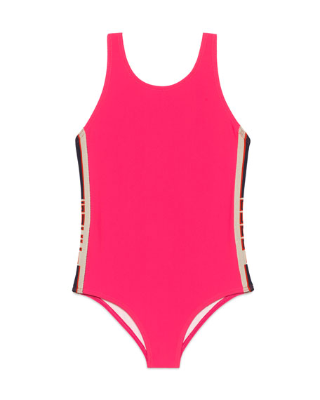 Solid One-Piece Swimsuit w/ Logo Sides, Size 4-12