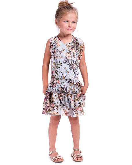 Floral-Print Chiffon Ruffle-Trim Dress, Size 4-6