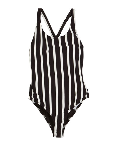 MILLY MINIS Striped Scoop-Neck One-Piece Swimsuit, Size 7-16 in Black/White