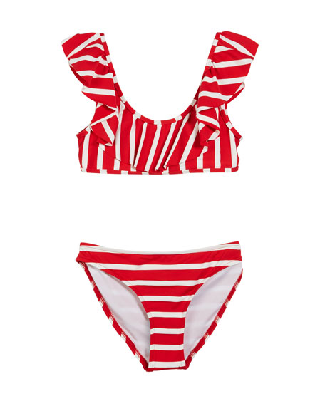MILLY MINIS Striped Ruffle Pinafore Two-Piece Swimsuit, Size 7-16 in Red