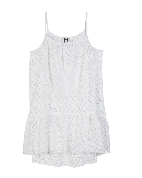MILLY MINIS Chevron Crochet High-Low Coverup, Size 7-16 in White