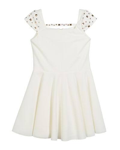 Riley Studded Cap-Sleeve Swing Dress, Size 7-16