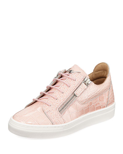 Selma Snake-Embossed Leather Low-Top Sneaker, Toddler/Kids